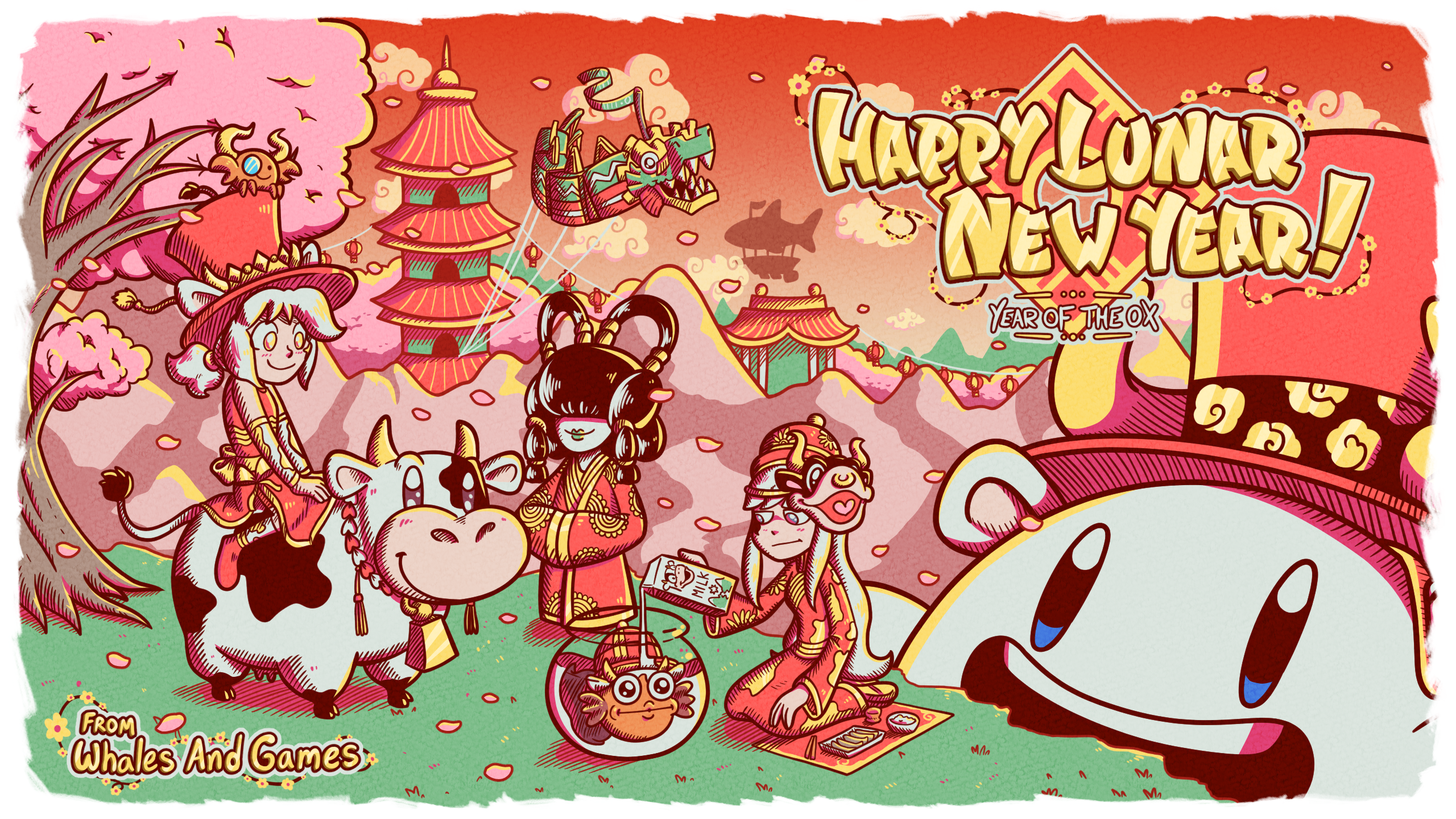 Happy Lunar New Year and Year of the Ox Celebratory Artwork featuring whaleverse characters, including Whalechan, Isha, Dapperchan and Dapperfish, with Polite Whale as an Ox in the background.