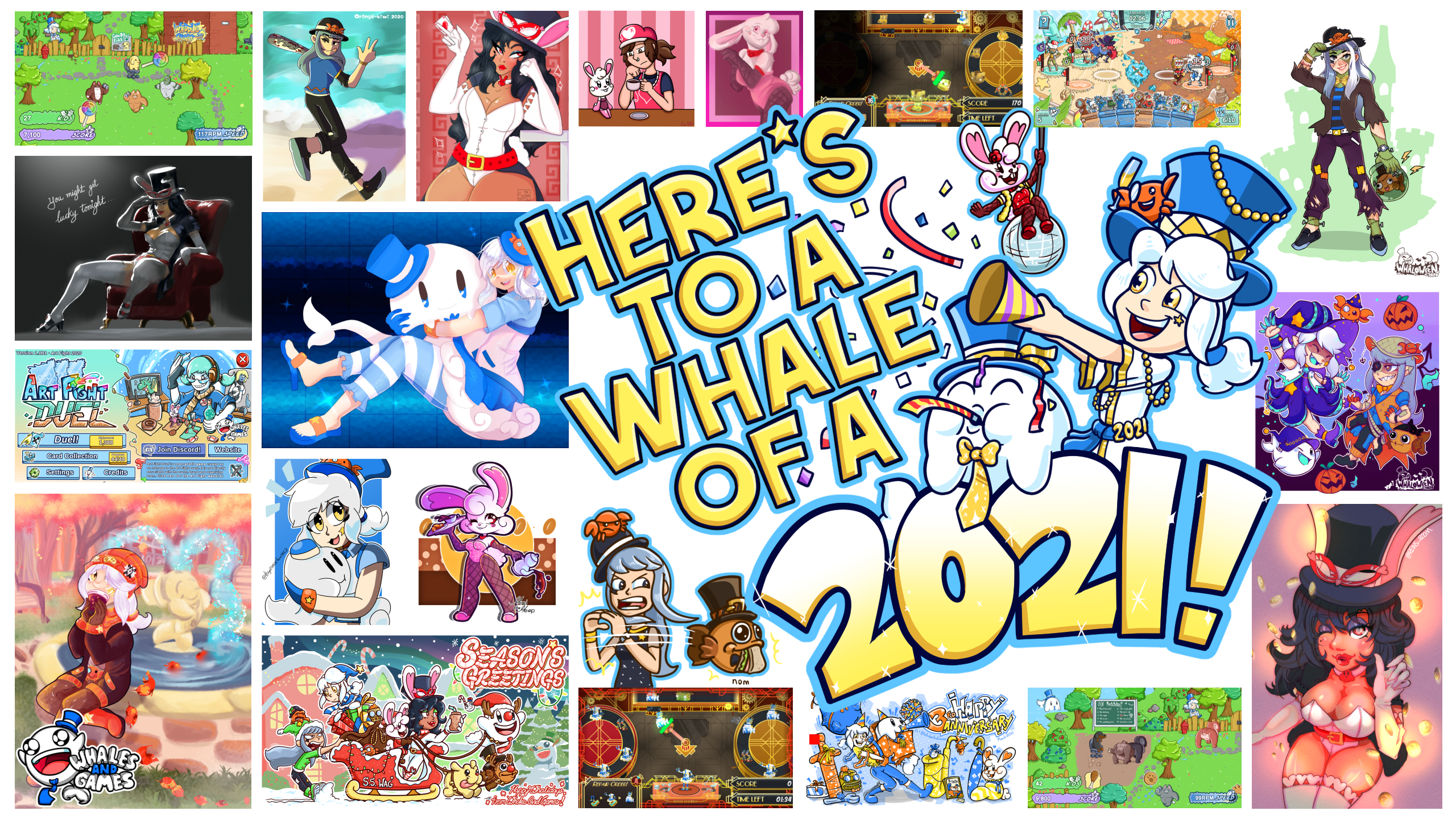 Collage of 2020 Highlights with fan-art we've received, artwork we've made and games we have developed!