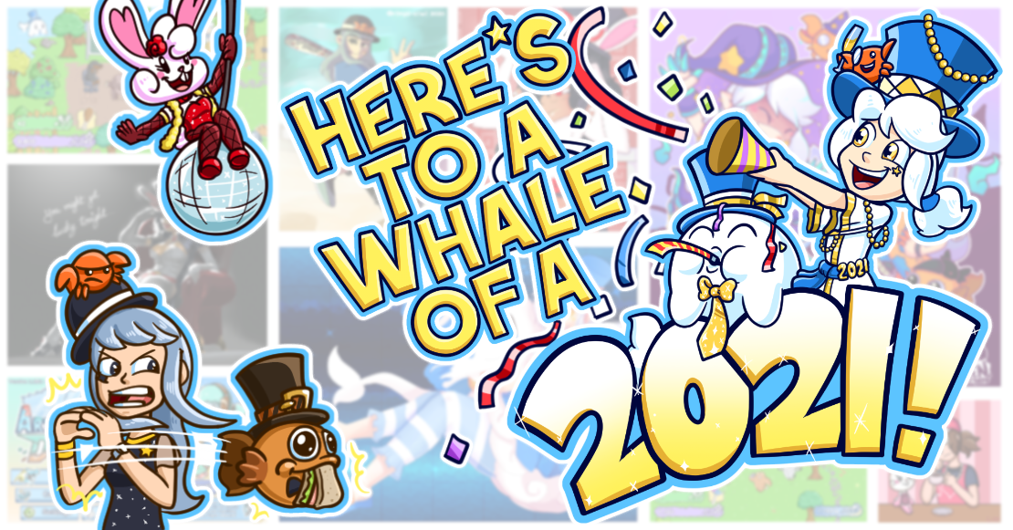 "Post banner for the ""here's to a whale of a 2021"" blog post! Happy New Year!"