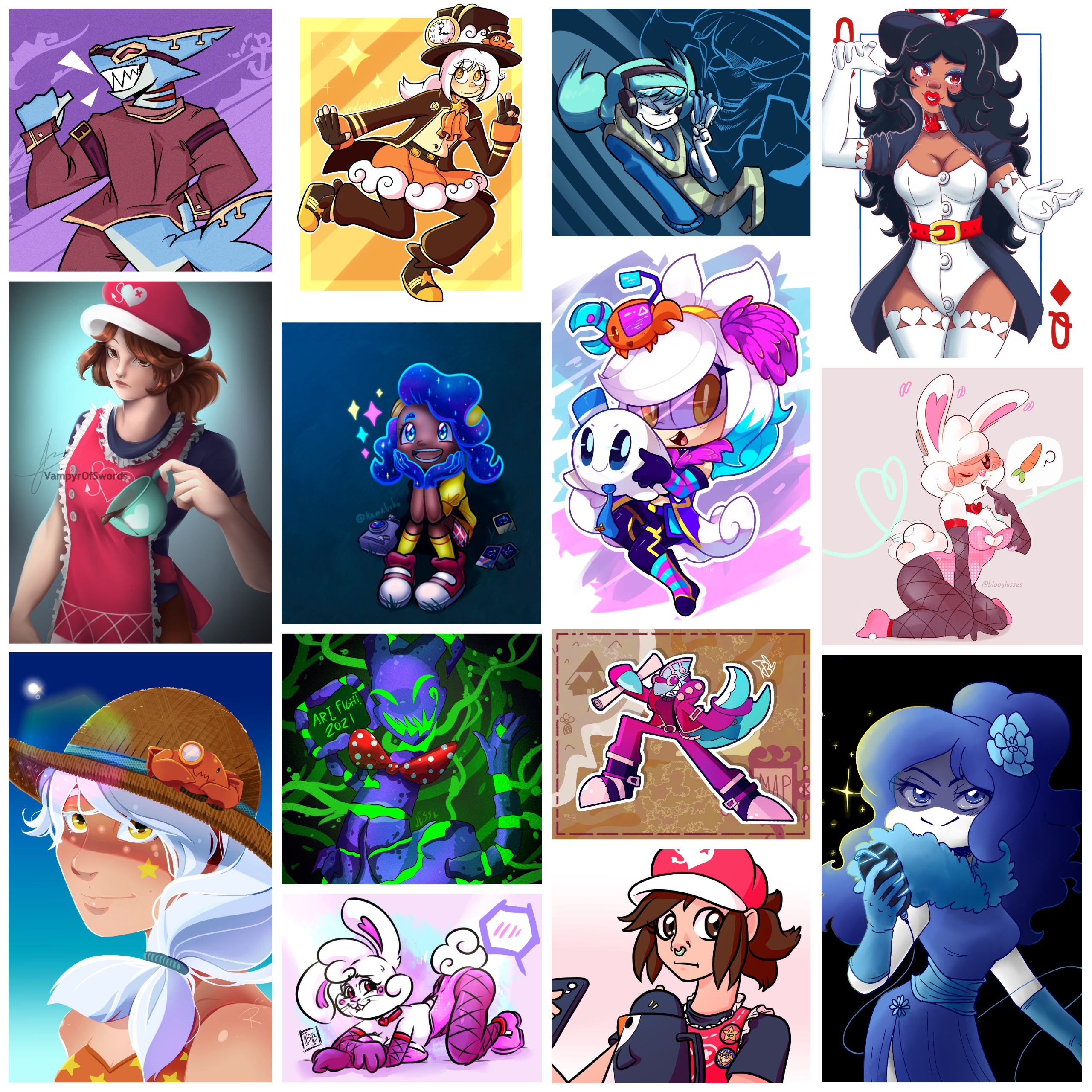 Collage of Defenses from this Art Fight!