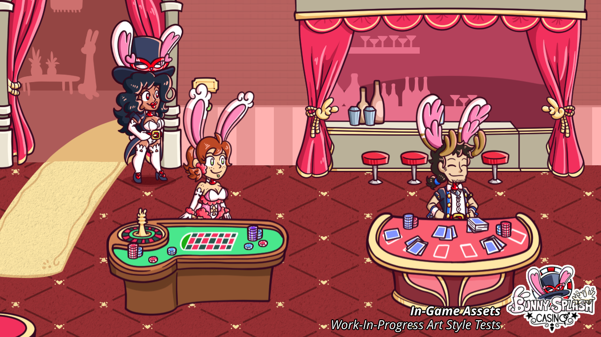 Work-In-Progress Art Style Tests of In-Game Assets for Bunny Splash Casino