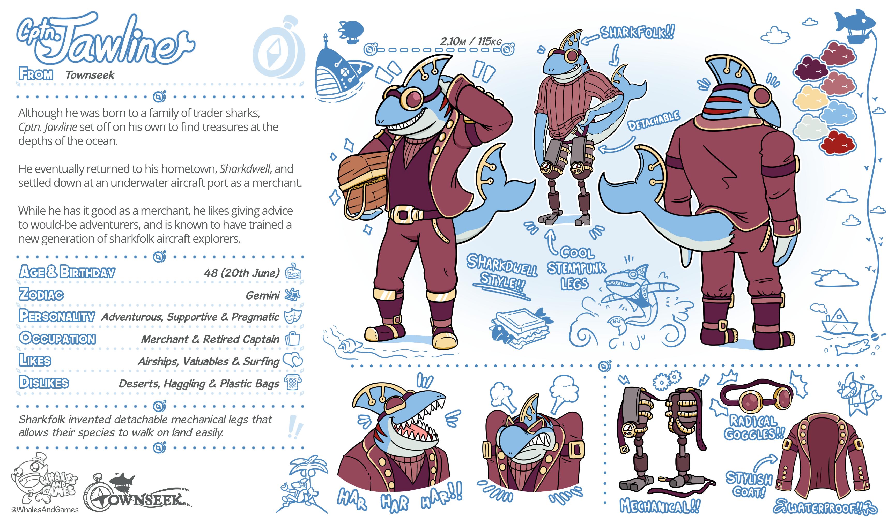Captain Jawline Character Sheet