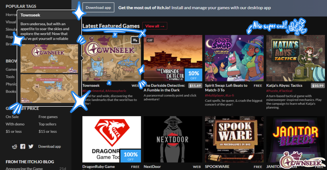 Townseek featured on itch.io